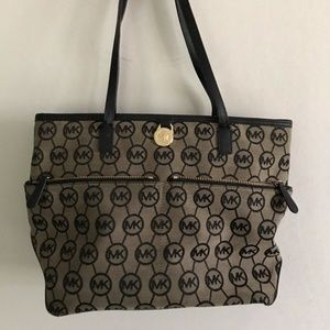 MICHAEL KORS Brown/Black Allover MK Logo Canvas To